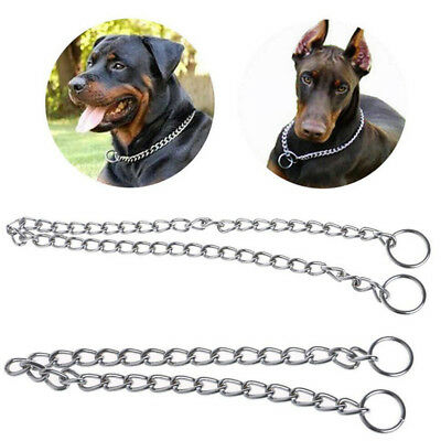 Pet Dog Puppy Choke Chain Choker Collar Strong Silver Metal Training 4 Sizes