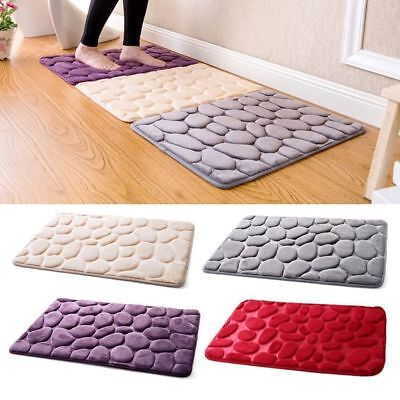 Absorbent Non-slip Cobblestone Rug Door Mat Kitchen Bathroom Floor Mat Carpet AU