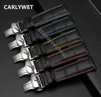 18 20 22mm Luxury Real Calf Leather Wrsit Watchband Strap Belt For Brand Watch