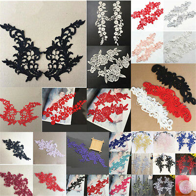 1 Pair Bridal Lace Flower Embroidery Wedding Applique Sequins Clothes DIY Craft