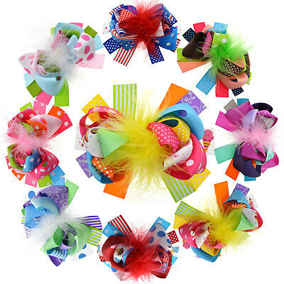 """Baby Girls 5"""" Grosgrain Ribbon Boutique Hair Bows Alligator Clips Pack Of 8"""