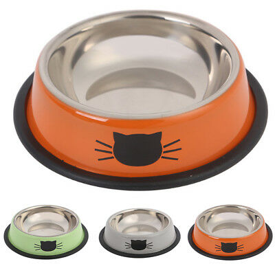Lovely Pet Dog Puppy Cat Stainless Steel Food Water Non Slip Feeding Bowl