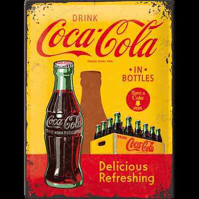Targa in Latta Coca-Cola - In Bottles Yellow 30 x 40 in metallo stampato
