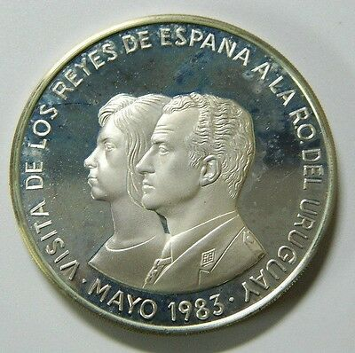 2000 Nuevos Pesos Uruguay 1983 Visit Of King And Queen Of Spain - Silver Km#131
