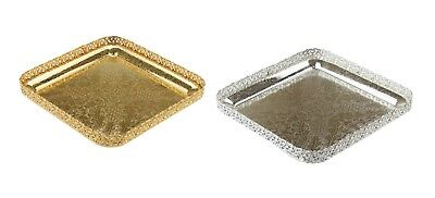 Chrome Silver/Gold Plated Square Platters Serving Tray beauitful design Paandan