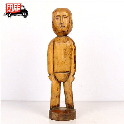 1930's Old Vintage Hand Carved Human Figure Rich Patina On Stand Rare 7950