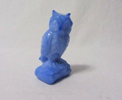Boyd Art Glass  Owl Light Blue Solid Glass B In Diamond First Five Years