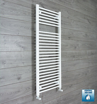 500 mm Wide 1200 mm High Flat White Heated Towel Rail Radiator Gas or Electric