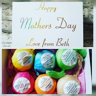 Personalised Bath Bomb Gift Set. Mothers Day Girlfriend Wife Easter anniversary