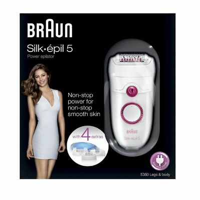 Braun Silk Epil 5 SE5380 Epilator with Comfort System Washable and 4 Attachments