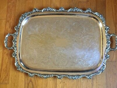 """Large Silverplate Waiter Tray Serving Poole 23"""" Double Handle Footed 5032 Shell"""