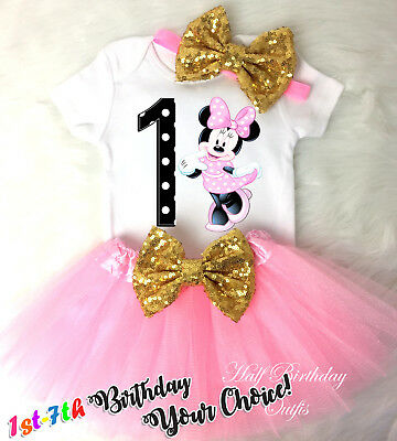 a1f7e750bd340 FIRST BIRTHDAY OUTFIT girl light , minnie mouse shoes, Minnie Mouse ...