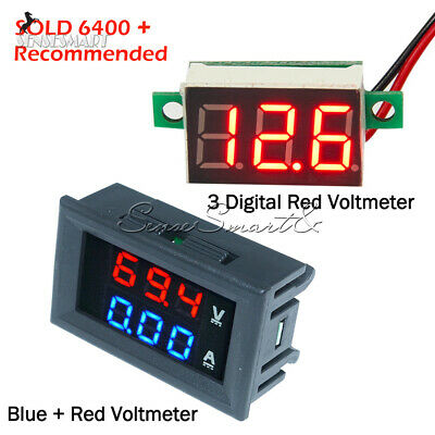 Digital Red LED Voltage Meter DC100V 10A Voltmeter Ammeter Blue+Red LED Amp Dual