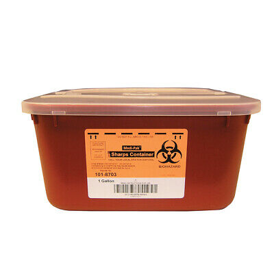 Sharps Disposable Needle Biohazard Container 1 Gallon Red - 6 PACK! *GREAT DEAL*