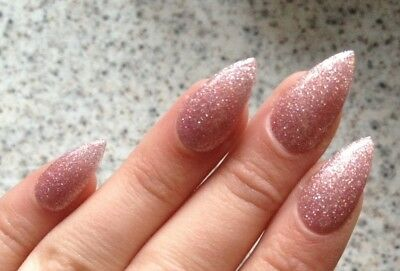 Hand Painted False Nails Pretty Nude Delicate Glitter Stiletto Full Cover Tips