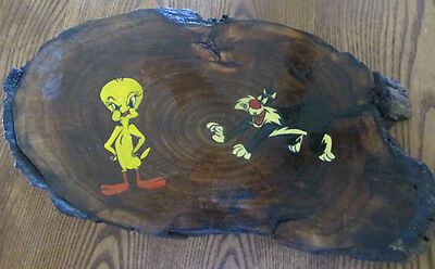 Sylvester & Tweety ~ One-Of-A-Kind Hand Painted Adirondack Pine Wooden Plaque