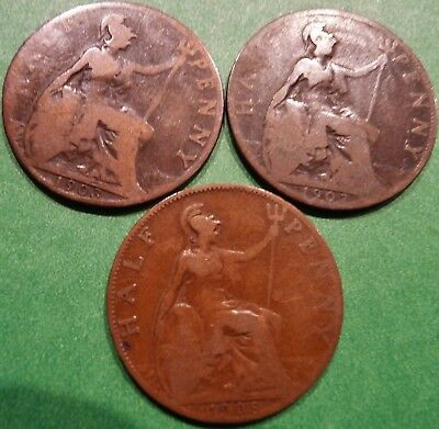 ONE ONLY UK Half Penny, You Choose the Date(s), Edward VII 1903, 1907, 1908