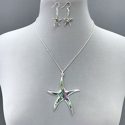 Antique Silver Abalone  Mother of pearl Starfish Pendant Necklace &  Earrings