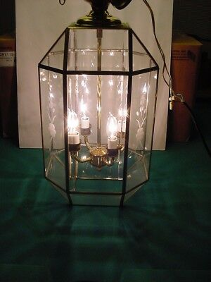 Vtg Octagon Brass Hanging Light Fixture Pendant Chandolie Beveled & Leaded Glass
