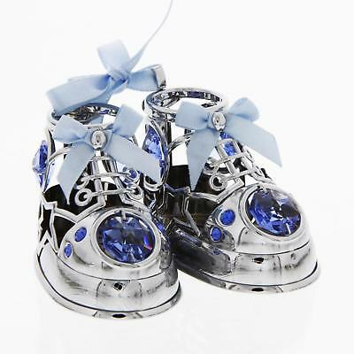 Silverplated Baby Shoes Booties Blue Crystal Elements Ornament Keepsake