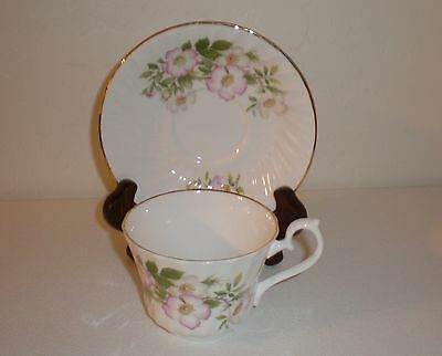 "Royal Sutherland Fine Bone China Cup/Saucer ""Pink Floral/Vines"" Made in England"