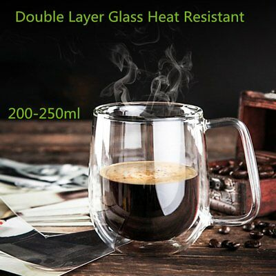 Transparent Double Layer Glass Heat Resistant Tea Coffee Mug Insulation Cup il