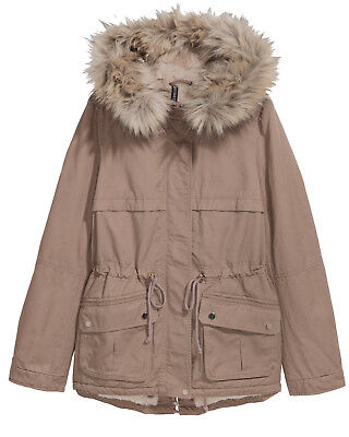 innovative design fce08 63e52 H&M CANVAS PARKA Winterjacke Teddyfutter Fell hellbraun beige 36 38 40 42  44 46