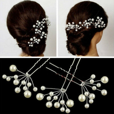 Women Wedding Party Bridal Prom White Pearl Flower Hair Clip Pin Jewelry 9CM