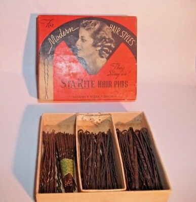 Sta-Rite Hair Pins in Original 1920's-1930's Box Vintage Bobby Pins in Box