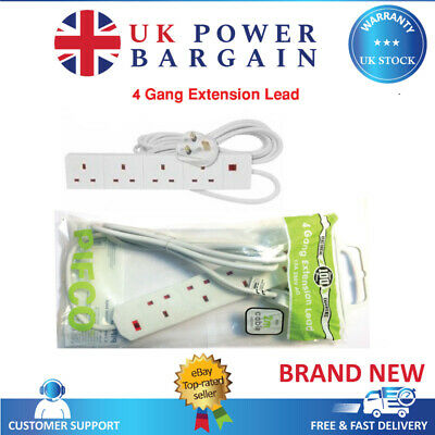 PIFCO 4 Way Socket 1M 2M 5M 10M Extension Lead 13A White Cable Plug Socket Wire