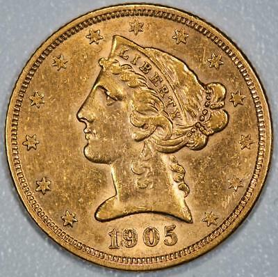 gold-reduced! 1905-s US$5 Half Eagle Liberty Head FREE SHIPPING would grade EF+