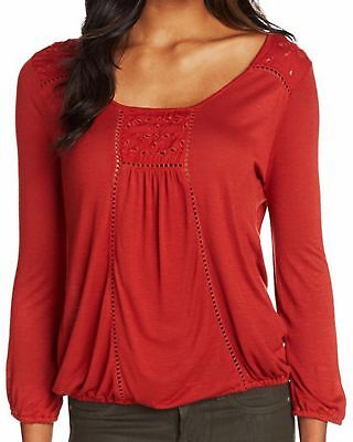 New LUCKY BRAND Women's Red Knit Cailey Cut Out 3/4 Sleeve Scoop Top Shirt $59