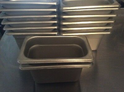 Stainless Steel Food Pans Lot Of 14, 1/9 Size