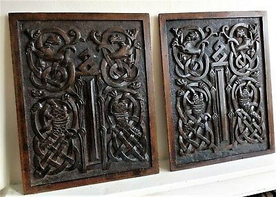 Pair 17th Century Celtic Carved Oak Panels Depicting Mythical Beasts