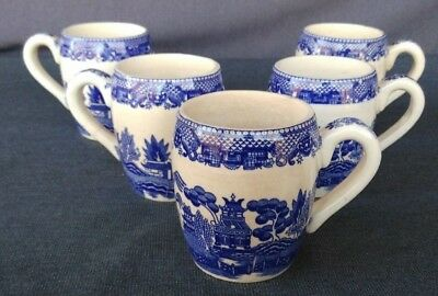 Vintage Blue Willow Coffee Mugs Rounded Top Thick Handled Set of 5