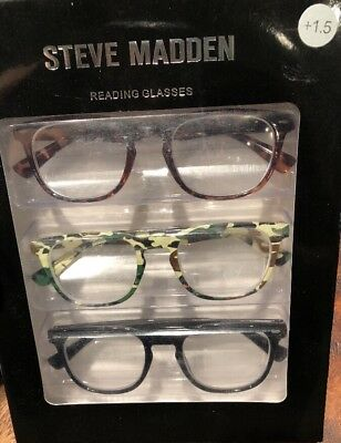 0842be77f24 STEVE MADDEN 3 Pair Reading Glasses Readers +1.5 New Authentic ...