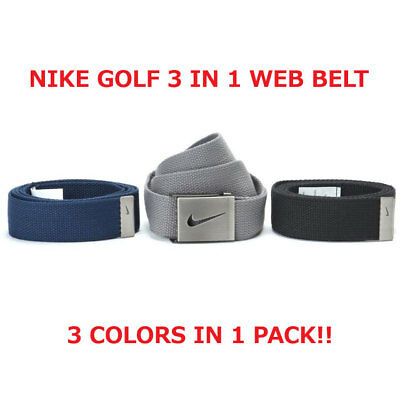 "Nike Golf Men's Web Belt 3 In 1 Pack Black/grey/navy Osfa Up To 42"" New!! 18650"