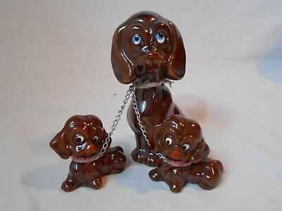 Vintage Luster Brown Mama Dog Chained to 2 Pups Japan Red Clay