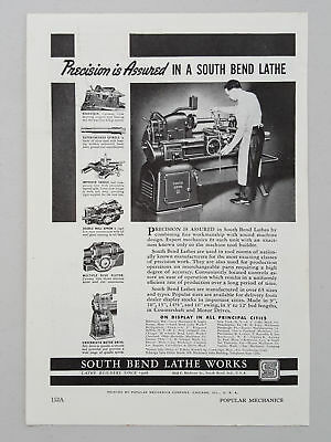 South Bend Lathe Works Turning Equipment Operator Features 1941 Vtg Magazine Ad