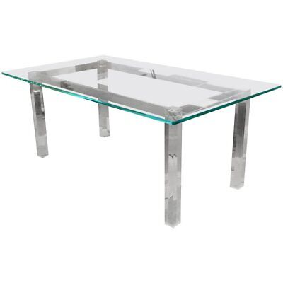 Mid Century Modern Glass Lucite Chrome Dining Table Hollis Jones 1970's