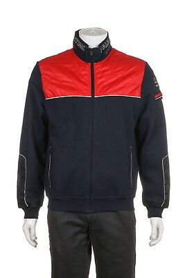 PAUL & SHARK Yachting 1/4 Zip Jacket Men's Medium Navy Blue Red Sweater Quilted