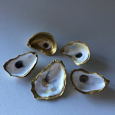Oyster Jewelry Dish - Gold Lead, Hand-painted - Perfect for Jewelry, Home Accent