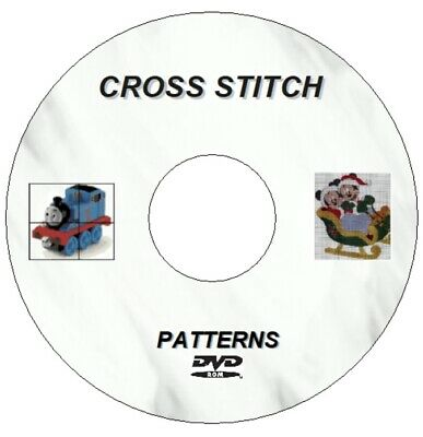 New 1200 Plus Cross Stitch Patterns & Charts Cd / Dvd For Pc 2.44Gb