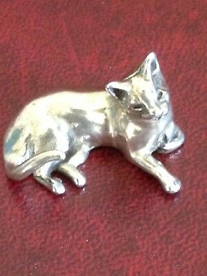 Solid Silver Cat Figurine