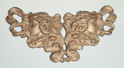Large Vintage Antique Solid Raw Brass Stamping Art Nouveau Women Flowing Hair