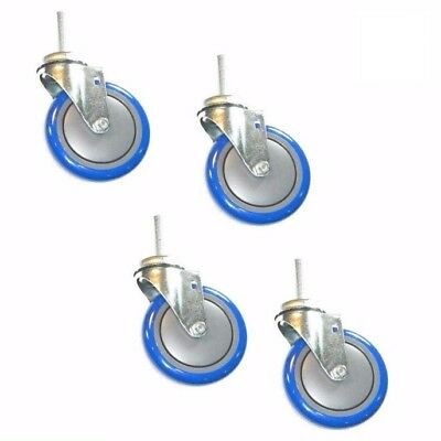 "Set of 4 Swivel Stem Casters with 5"" Polyurethane Wheels & 1/2"" Threaded Stems"