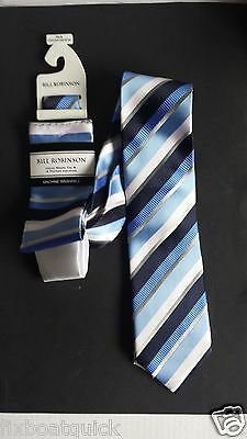 Bill Robinson men neck tie with 2 pocket squares (white and matching pattern)