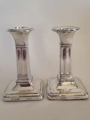 Pair of Sterling Silver Corinthian Style Candlesticks (371 grams)