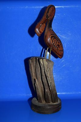 ARTIST SIGNED Hand Carved Wood PELICAN BRASS LEGS ON  DRIFTWOOD PILING Sculpture