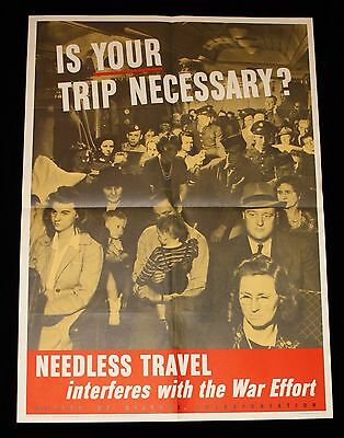 """""""Is Your Trip Necessary?"""" 1943 WWII Office of Defense Transportation Poster"""